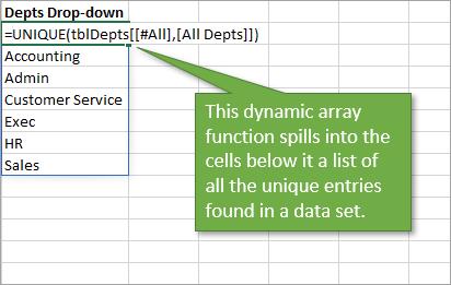UNIQUE function for department list