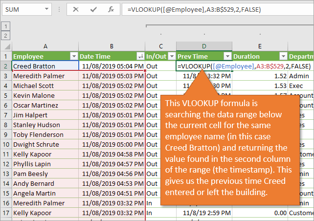 VLOOKUP for previous time entry
