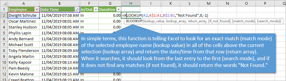 Xlookup function with regular ranges