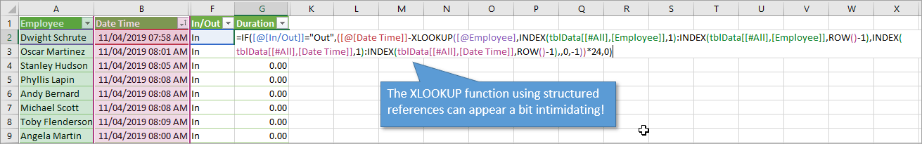 Xlookup function with structured references