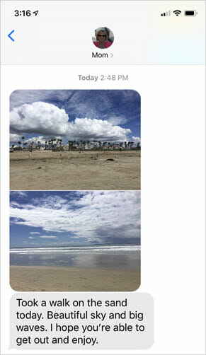 Text from mom on taking a break from work working from home