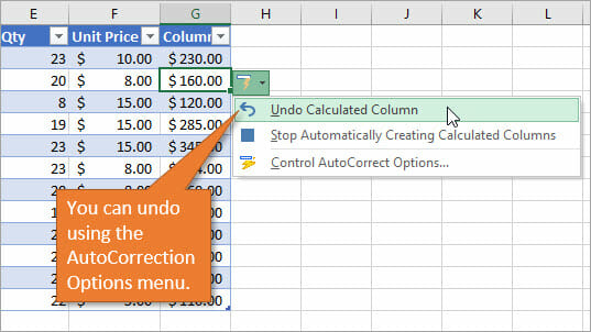 Undo Calculated Column in AutoCorrection options Menu