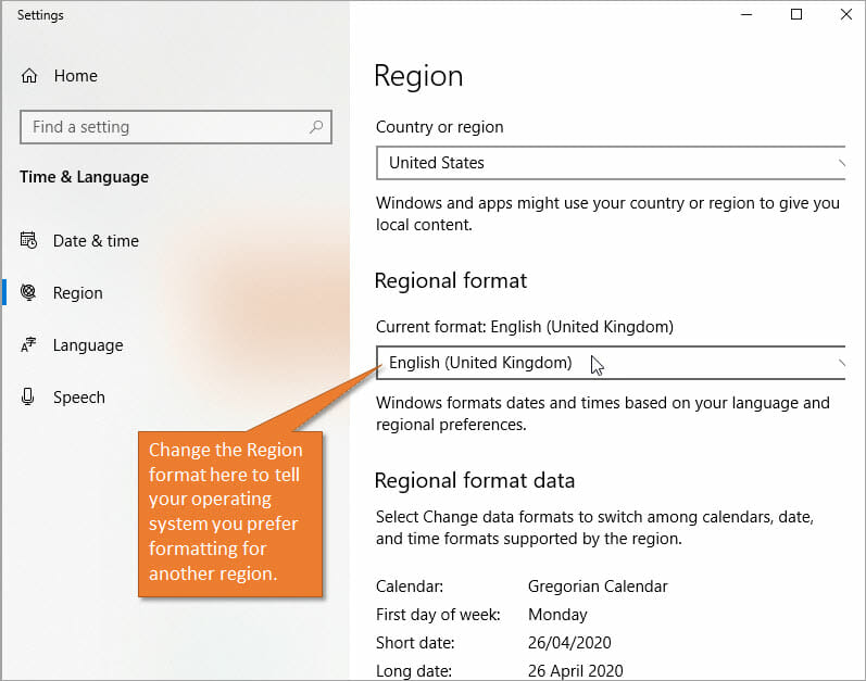 Change region settings for windows operating system