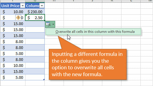 Excel Table Overwrite all cells in this column with the formula AutoCorrect Options