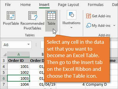 Insert Excel Table Using Insert Tab on Ribbon