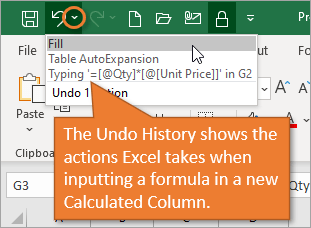 Undo History Shows Calculated Column Steps for Excel Table