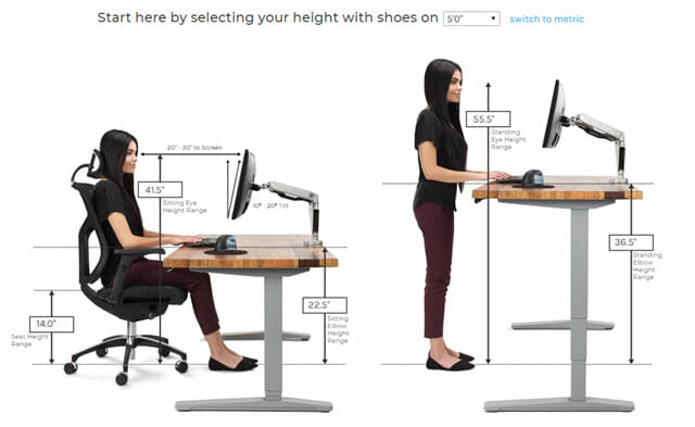 Uplift Desk Standing Desk Height Calculator