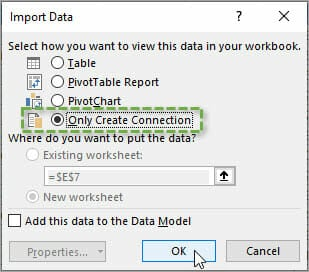 Import Data Window Only Create Connection