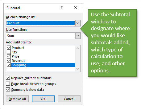 Subtotal window options