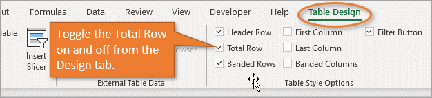 Turn on the Total Row from the Design tab