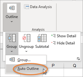 Auto outline in Excel