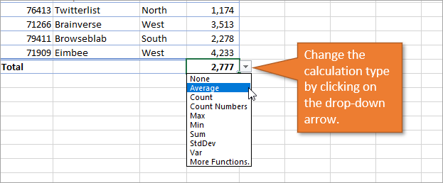 Change the calculation type using the dropdown menu
