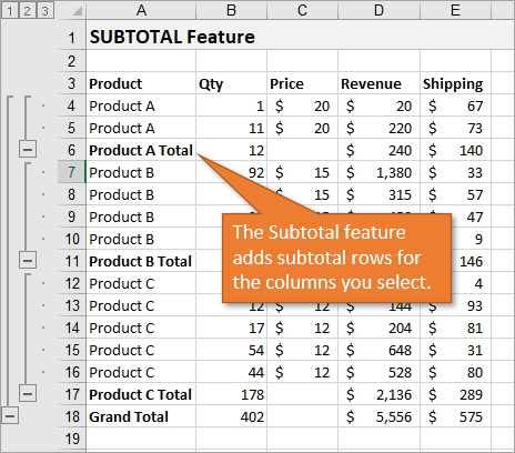 Subtotal feature example