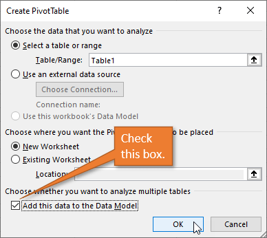 Create PivotTable Window