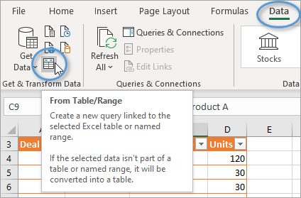 From Table Range Power Query