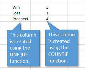 report created using dynamic array functions