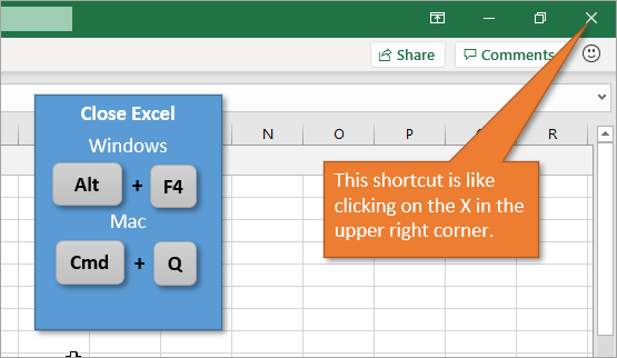 Close Excel using Alt F4