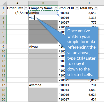 Copy down formula referencing theabove cell