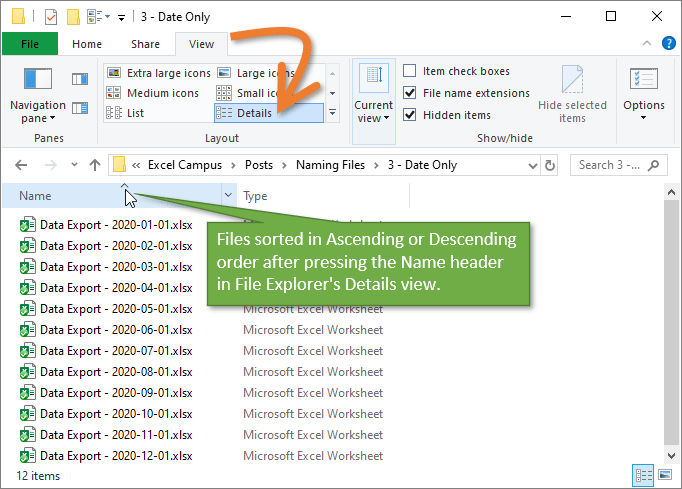 File Explorer Files Sorted in Ascending Descending Order