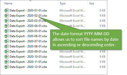 File Name Date Format YYY-MM-DD to Sort in Ascending or Descending Order