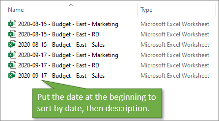 File Naming Date at Beginning to Sort by Date Then Description