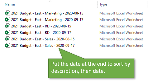 File Naming Description at the Beginning to Sort by Description Then Date
