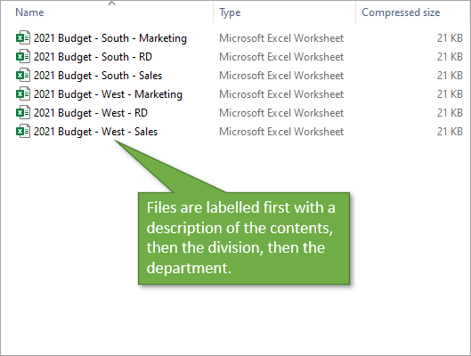 File naming by description division and department