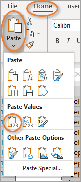 Paste Values Only button on the Home tab
