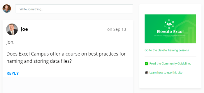 Question from Joe on Best Practices for Naming Files - Elevate Excel