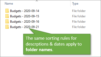 Sorting Folder Names in File Explorer with Description and Date in Folder Name