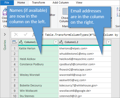 Power Query spilt by columns using delimiter