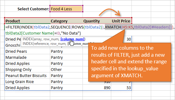 Quickly extend results of FILTER formula to add new columns with XMATCH