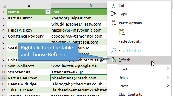 Right click and refresh the table for power query to rerun