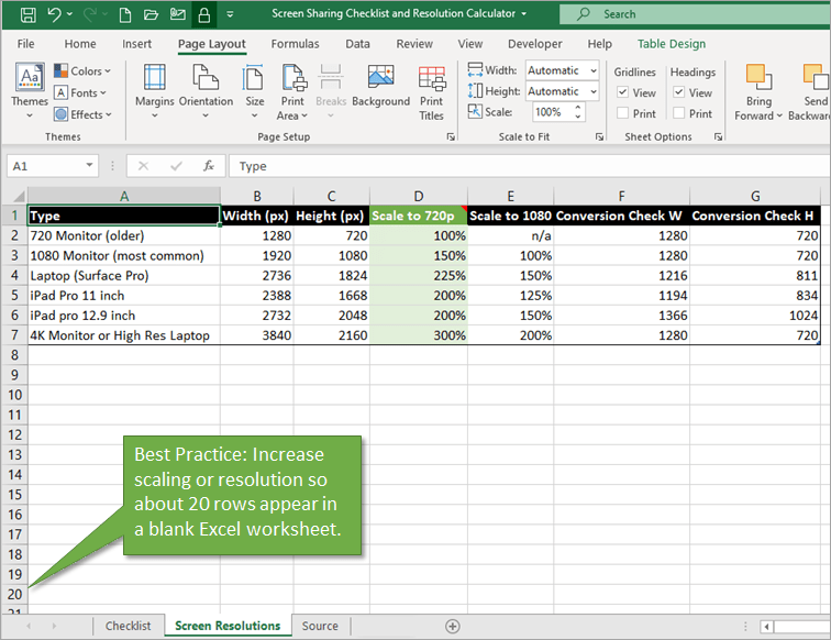 Best PRactice Increase Scaling or Resolution to show 20 Rows in Excel