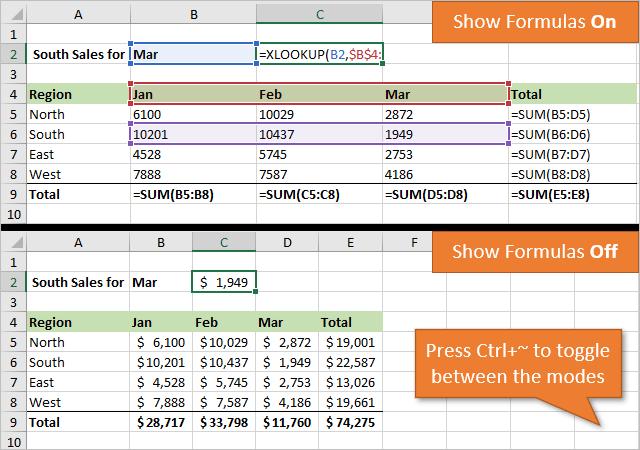 Ctrl Tilde Shortcut to Show or Hide Formulas in Excel