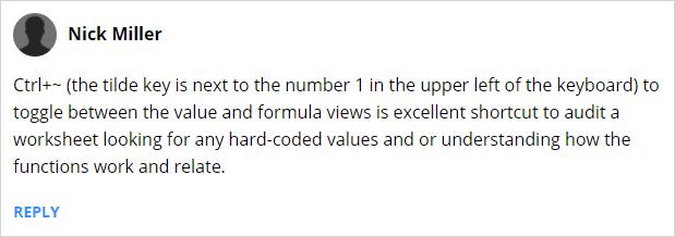 Ctrl Tilde to Show Hide Formulas in Excel - Nick Miller