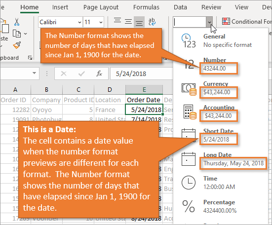 Date Previews on Format Drop-down in Excel to determin if value is a date