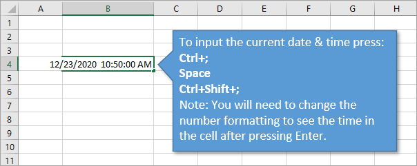 Excel Keyboard Shortcut to Input Current Date and Time in Cell