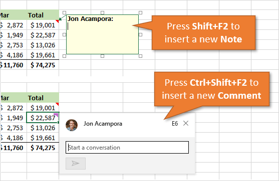Excel Shortcuts for Cell Notes and Comments Ctrl Shift F2