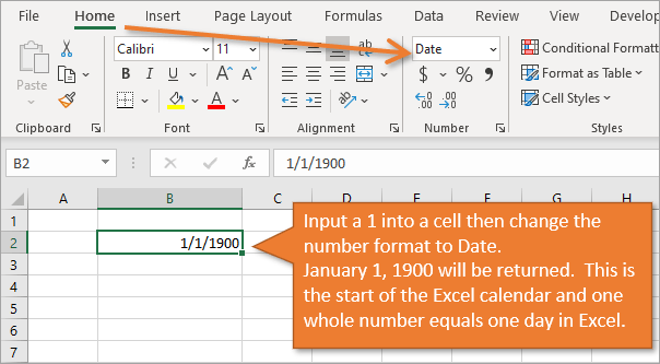 January 1 1900 Start of Excel Calendar One Number Equals One Day