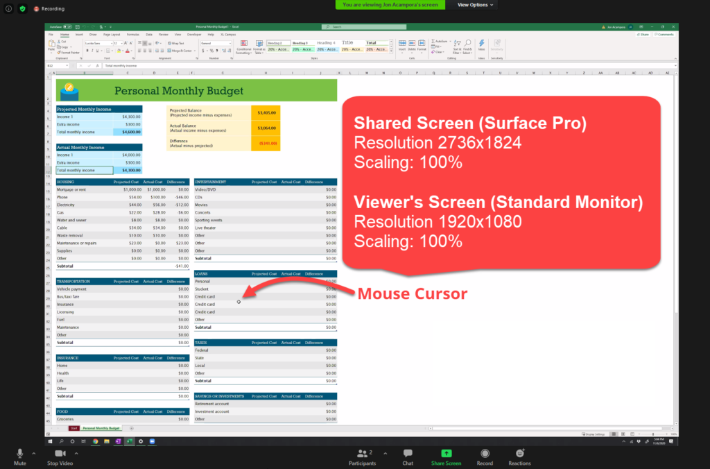 Screenshare Surface Pro at 100 percent scaling on Zoom Meeting Share Screen