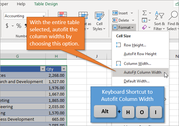 Shortcut to Autofit Column Widths in Excel Tables
