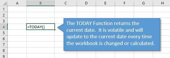 TODAY Function returns current date in Excel