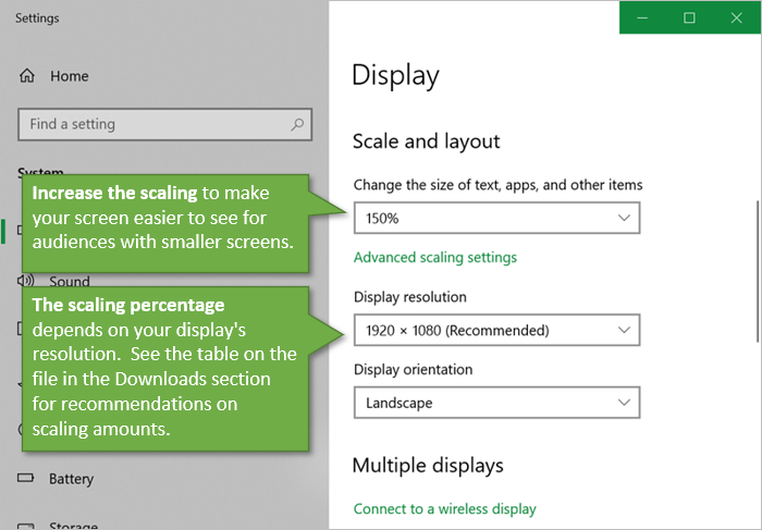Windows Display Settings and Scaling for Virtual Meetings
