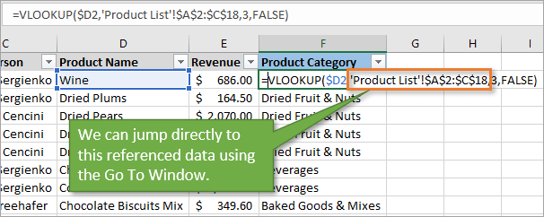 Go to Window for references in formulas