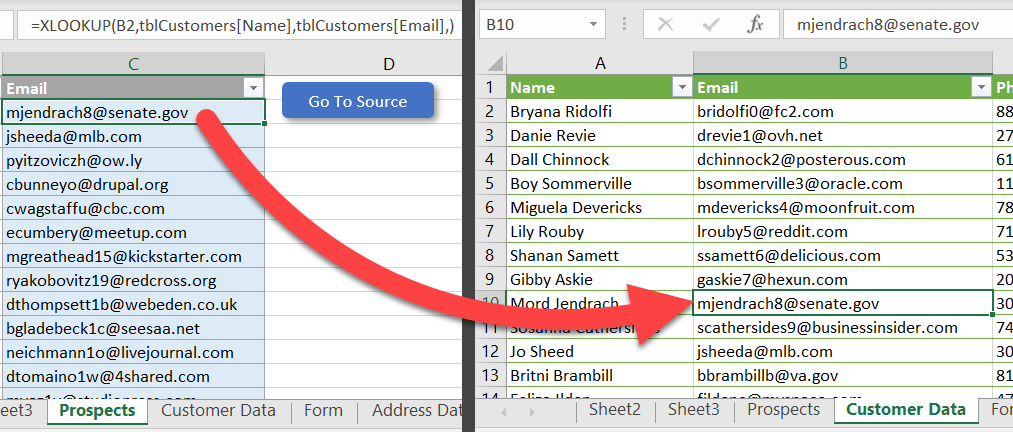Jump to the source of an XLOOKUP formula with a macro