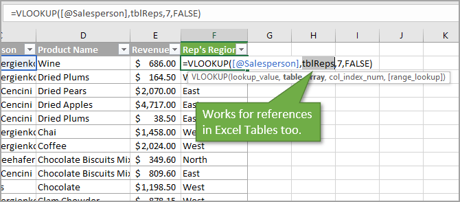 Table References Go To Window