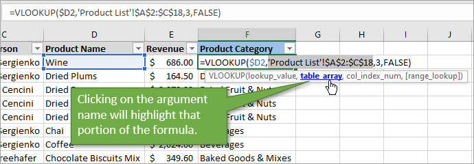 click on argument name to highlight that portion of the formula