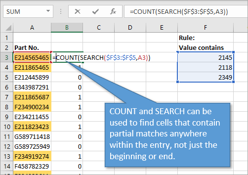 COUNT and SEARCH functions to find partial matches