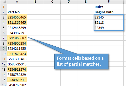 Format cells based on list of partial matches